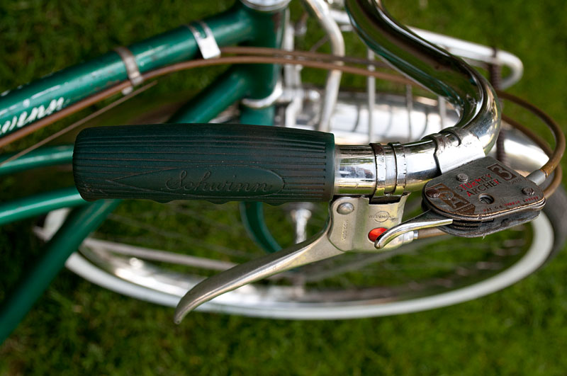 My 1955 Schwinn Corvette - grip, shifter, and brake lever detail